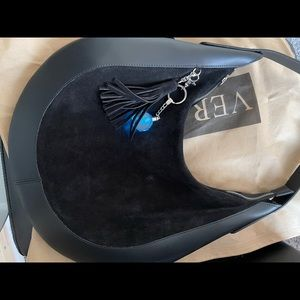 Vera Pelle Italian leather suede and leather hobo